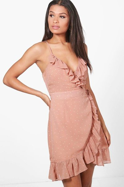 Boohoo Jackson Polka Dot Frill Wrap Skater Dress in blush - Dresses are the most-wanted wardrobe item for...