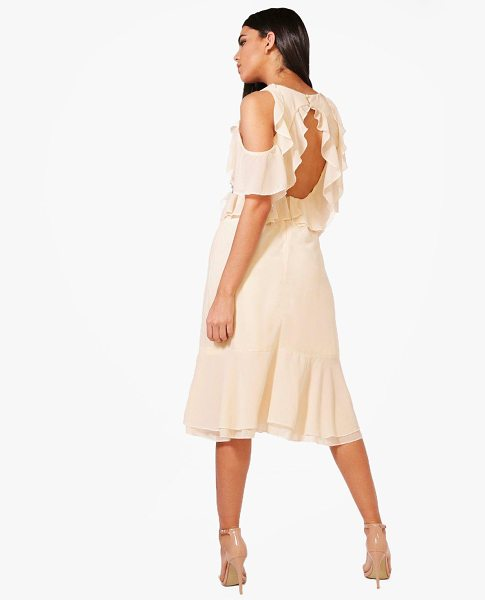 Boohoo Frill Open Back Midi Dress in pink - Dresses are the most-wanted wardrobe item for...