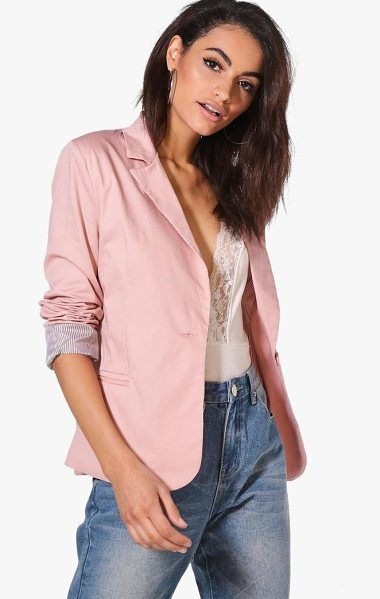 Boohoo Colour Block Blazer in blush - Wrap up in the latest coats and jackets and get...