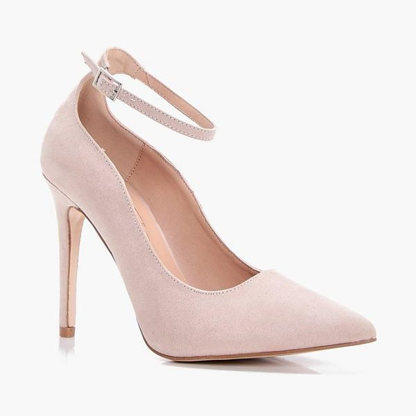 Boohoo Jade Pointed Toe Ankle Band Courts in nude - We'll make sure your shoes keep you one stylish step...