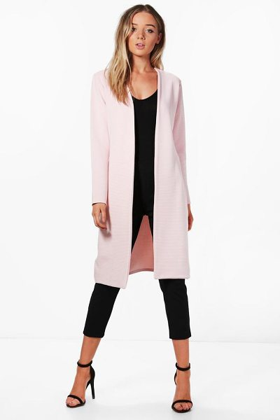 Boohoo Jade Rib collarless Duster in nude - Wrap up in the latest coats and jackets and get...