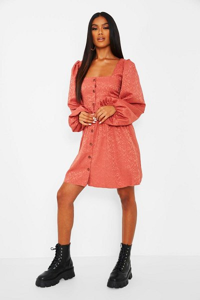 Boohoo Jaquard Button Down Balloon Sleeve Skater Dress in rose