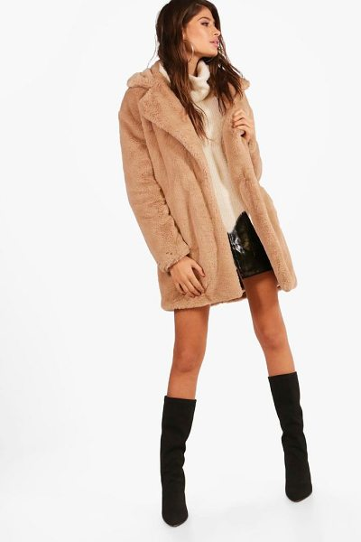 Boohoo Jasmine Boutique Oversized Collar Faux Fur Coat in camel - Wrap up in the latest coats and jackets and get...