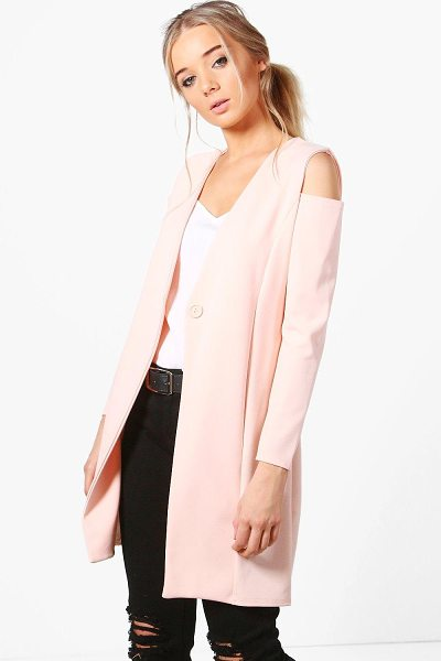 Boohoo Jasmine Cold Shoulder Tailored Duster in nude - Jasmine Cold Shoulder Tailored Duster nude