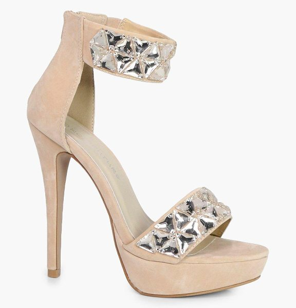 Boohoo Jasmine Embellished Two Part Platform in nude - Jasmine Embellished Two Part Platform nude