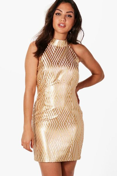 Boohoo Jacquard Stripe Bodycon Dress in gold - Dresses are the most-wanted wardrobe item for...