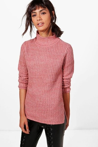 Boohoo Jasmine Marl Knit Turtleneck Jumper in biscuit