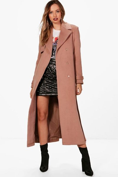 BOOHOO Maxi Belted Wool Look Coat - Wrap up in the latest coats and jackets and get...
