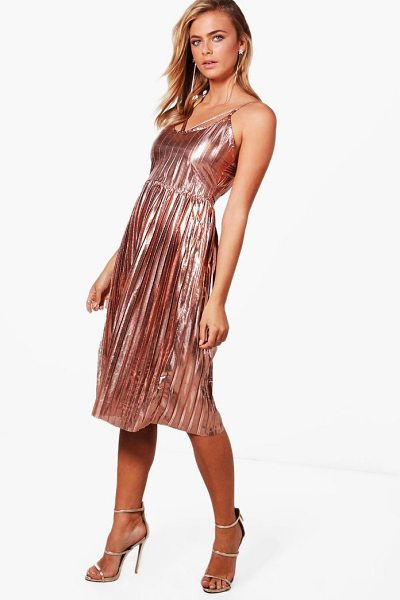 Boohoo Metallic Pleat Strappy Midi Dress in rose gold - Dresses are the most-wanted wardrobe item for...