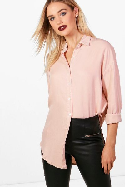 Boohoo Oversized Soft Touch Denim Shirt in dusky pink - Steal the style top spot in a statement separate from...