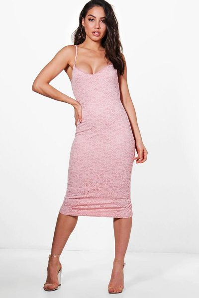 Boohoo Jayne Lace Strappy Midi Dress in rose - Dresses are the most-wanted wardrobe item for...