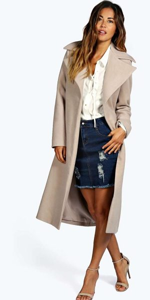 Boohoo Jeeny Wool Look Coat in stone - Coats and jackets are a key component for staying snug...