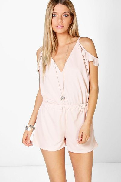 BOOHOO Jen Open Shoulder Ruffle Playsuit - Perfect for day or play, a playsuit will solve...