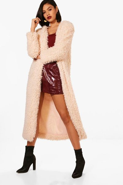 Boohoo Maxi Faux Fur Coat in beige - Wrap up in the latest coats and jackets and get...