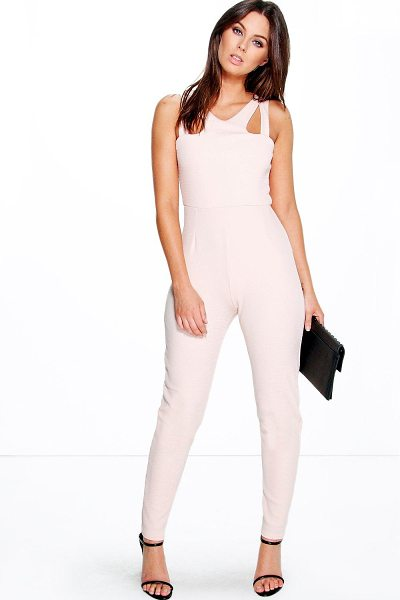 Boohoo Jennie Cut Out Strappy Textured One Piece in blush - Jumpsuits are your day-to-night dress alternativeYour...