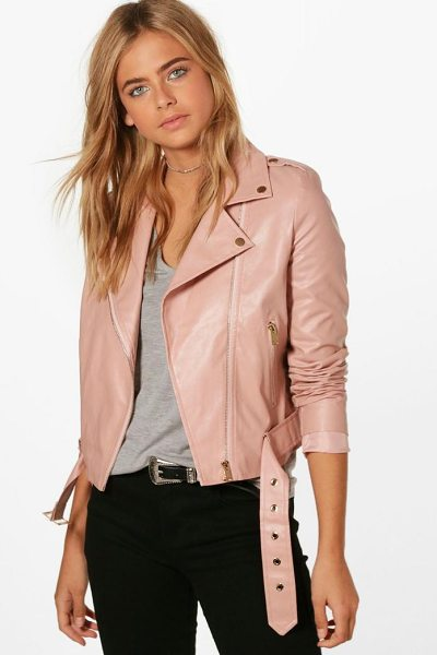 Boohoo Faux Leather Vegan Biker in blush - Wrap up in the latest coats and jackets and get...
