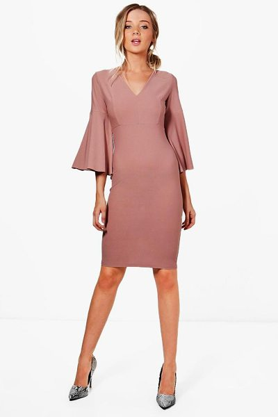 f2a27b23f93 Boohoo Jennifer Flare Sleeve Fitted Midi Dress in rose - Dresses are the  most-wanted