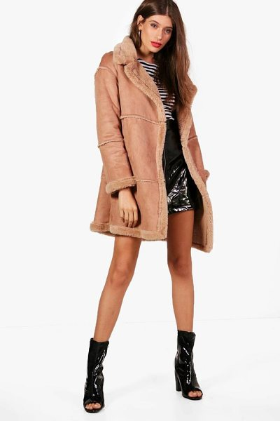 Boohoo Bonded Faux Fur Coat in camel - Wrap up in the latest coats and jackets and get...