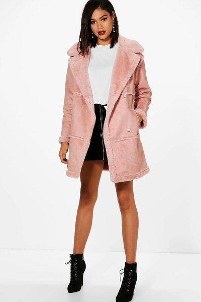 Boohoo Jenny Bonded Faux Fur Coat in dusky pink - Wrap up in the latest coats and jackets and get...
