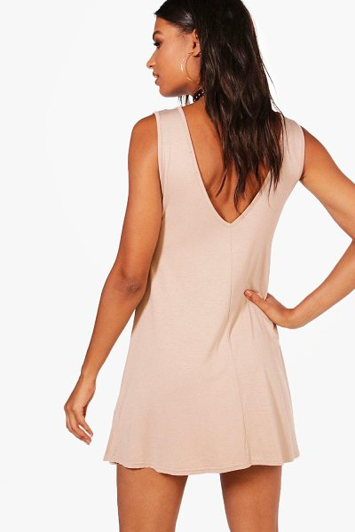 Boohoo Jenny V Back Swing Dress in sand - Dresses are the most-wanted wardrobe item for...