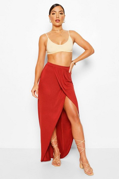 Boohoo Jersey Ruched Front Split Side Maxi Skirt in terracotta