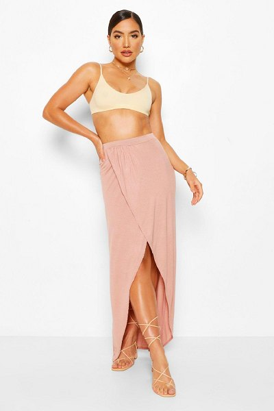 Boohoo Jersey Ruched Front Split Side Maxi Skirt in nude