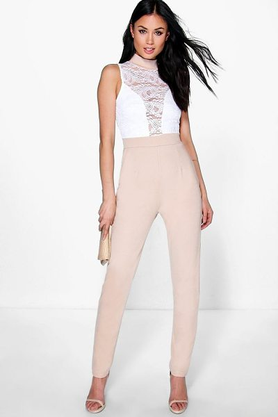 Boohoo Jess Barely There Lace Skinny Leg Jumpsuit in stone - Jumpsuits are your day-to-night dress alternativeYour...