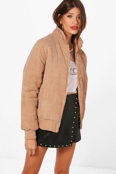 Boohoo Jumbo Cord Padded Jacket in camel - Wrap up in the latest coats and jackets and get...