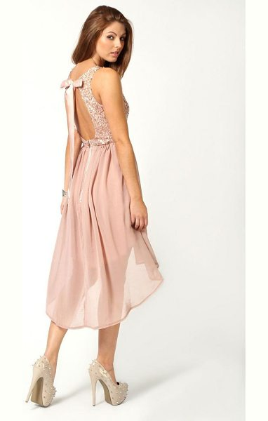 BOOHOO Sequin Top Open Back Chiffon Dip Hem Dress - Dresses are the most-wanted wardrobe item for...