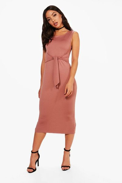 Boohoo Jess Tie Front Detail Midi Dress in rose - Dresses are the most-wanted wardrobe item for...