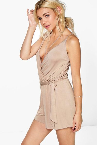 Boohoo Jessica Cami Style Wrap Belt Jersey Playsuit in sand