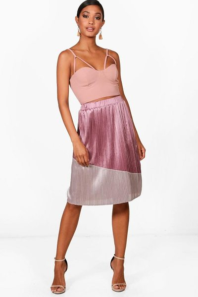 Boohoo Colour Block Pleated Satin Midi Skirt in mauve - Skirts are the statement separate in every wardrobe This...