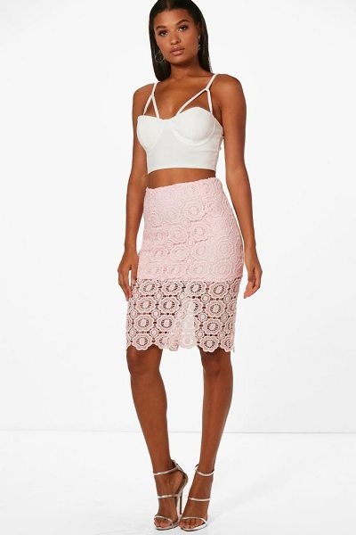 Boohoo Jessica Lace Midi Skirt in pink