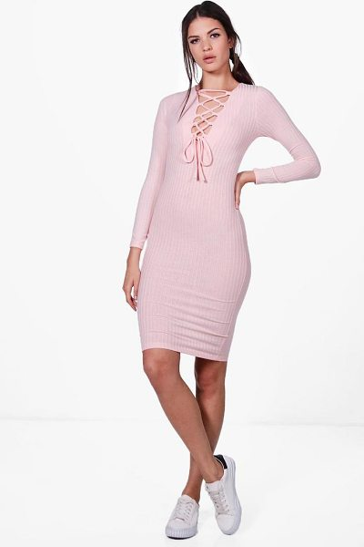 BOOHOO Jessica Lace Up Rib Knit Midi Dress - Nail new season knitwear in the jumpers and cardigans...