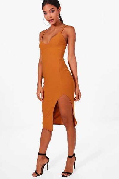 Boohoo Jessica Plunge Neck Side Split Midi Dress in amber