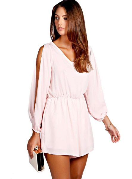 BOOHOO Jessica Split Sleeve Crepe Playsuit - Perfect for day or play, a playsuit will solve your...