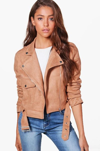 BOOHOO Jessica Suedette Biker Jacket - Wrap up in the latest coats and jackets and get...