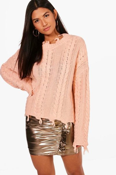 Boohoo Distressed Crop Cable Jumper in pink