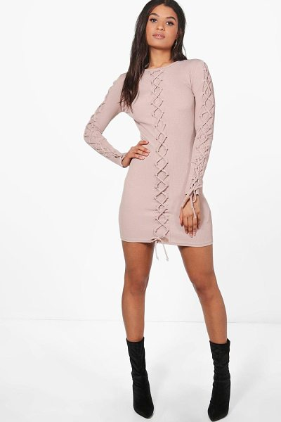 Boohoo Joanna Lace Up Detail Bodycon Dress in baby pink - Dresses are the most-wanted wardrobe item for...