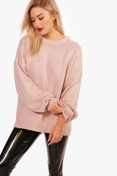 Boohoo Joanna Oversized Drop Shoulder Jumper in blush - Nail new season knitwear in the jumpers and cardigans...