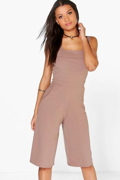 Boohoo Joanna Pinafore Style Culotte Jumpsuit in mocha - Pared back day dresses are the perfect base for layering...