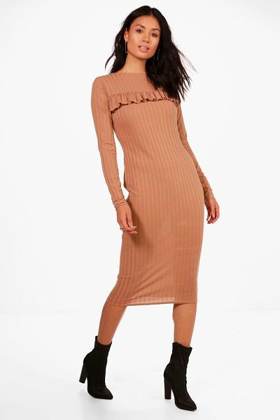 Boohoo Ribbed Frill Bodycon Midi Dress in sand - Dresses are the most-wanted wardrobe item for...