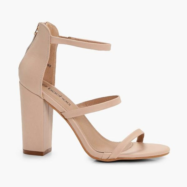 Boohoo 3 Part Block Heels in nude