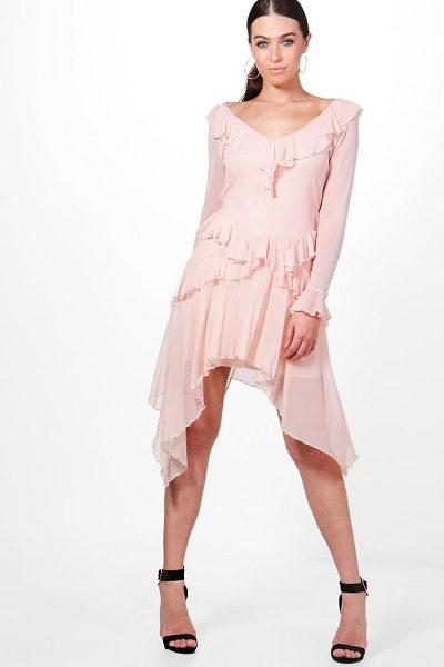 BOOHOO Mesh Frill Long Sleeve Skater Dress - Dresses are the most-wanted wardrobe item for...