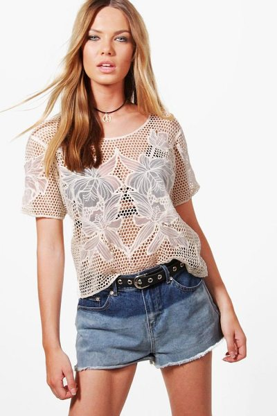 Boohoo Joey Crochet T-Shirt in cream - Steal the style top spot in a statement separate from...