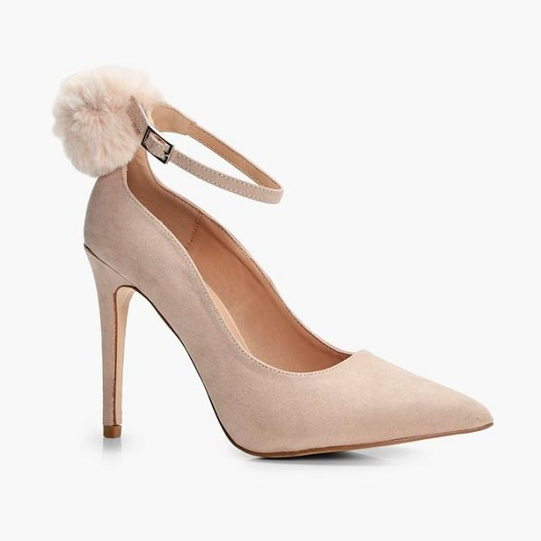 Boohoo Josie Faux Fur Pom Trim Ankle Court Shoe in nude - We'll make sure your shoes keep you one stylish step...