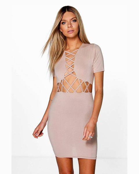 Boohoo Josie Lattice Cut Out Bodycon Dress in stone - Dresses are the most-wanted wardrobe item for...