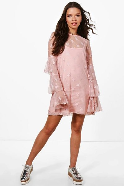 Boohoo Star Mesh Shift Dress in blush - Dresses are the most-wanted wardrobe item for...