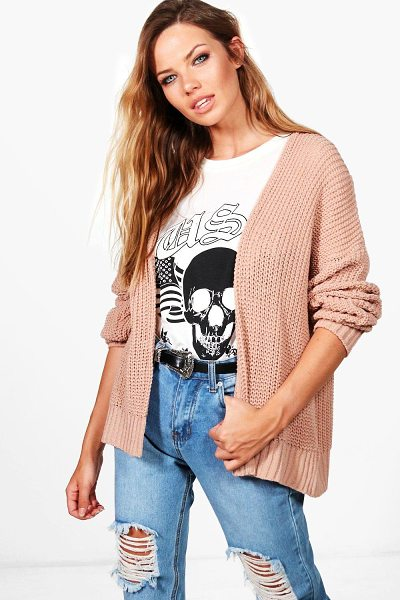 Boohoo Julia Dropped Shoulder Cropped Oversized Cardigan in blush