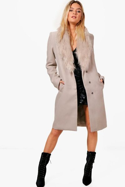Boohoo Julia Faux Fur Collar Wool Look Coat in stone - Wrap up warm in the latest wool look outerwear. A...